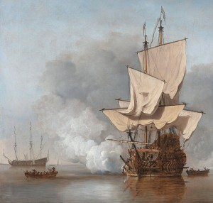 The Cannon Shot, painting by Willem van de Velde the Younger